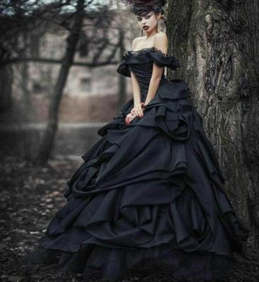 Schwarze Brautkleider Pinzessin |  Vintage Hochzeitskleid Mit Spitze_4