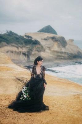 Schwarze Hochzeitskleider mit Ärmel | Spitze Brautkleid Online_4