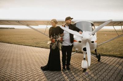 Gothic Brautkleider Schwarz | Meerjungfrau Hochzeitskleid mit Ärmel_4