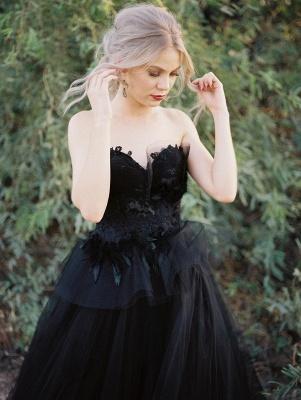 Schwarzes Hochzeitskleid A Linie | Tülle Brautkleider Online_5