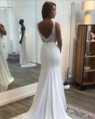 Elegante Brautkleider Meerjungfrau | Hochzeitskleider mit Spitze V Ausschnitt_3