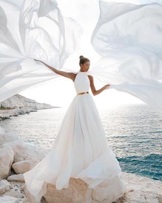 Sommer Chiffon Brautkleider Günstig | Schlichte Hochzeitskleid Online_2
