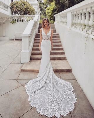 Brautkleider Spitze Meerjungfrau | Hochzeitskleider V Ausschnitt_2