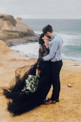 Schwarze Hochzeitskleider mit Ärmel | Spitze Brautkleid Online_5