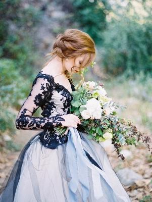 Schöne Brautkleider Schwarz | Spitze Hochzeitskleid mit Ärmel_4