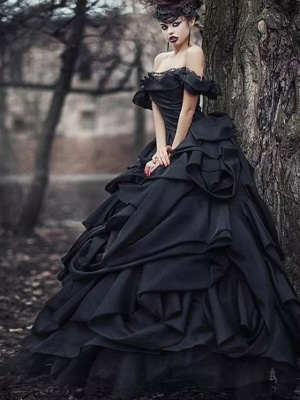 Black wedding dresses princess | Vintage wedding dress with lace_1
