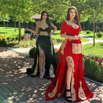 Elegant evening dresses long red | Prom dresses with sleeves_3