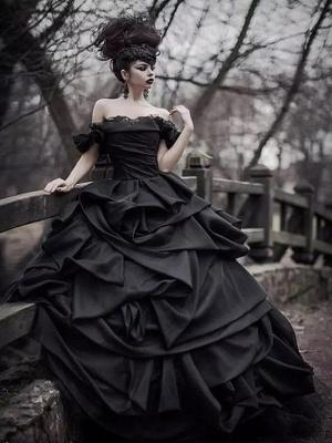 Schwarze Brautkleider Pinzessin |  Vintage Hochzeitskleid Mit Spitze_6