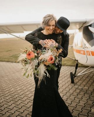 Gothic Brautkleider Schwarz | Meerjungfrau Hochzeitskleid mit Ärmel_2