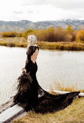 Schwarze Brautkleider Mit Ärmel | Meerjungfrau Hochzeitskleid Spitze_2