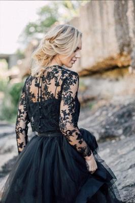 Schwarze Brautkleider mit Ärmel | A Linie Hochzeitskleider mit Spitze_2