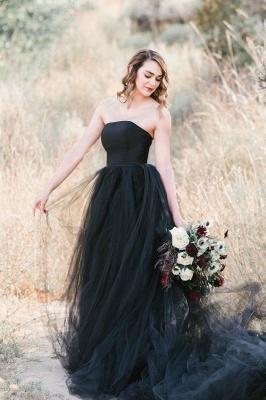 Schwarze Brautkleid Schlicht | Tüll Hochzeitskleid Online_4
