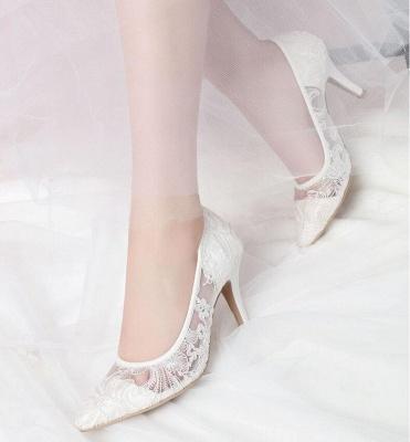 Weiße Schuhe mit Spitze | Brautschuhe Günstig Kaufen
