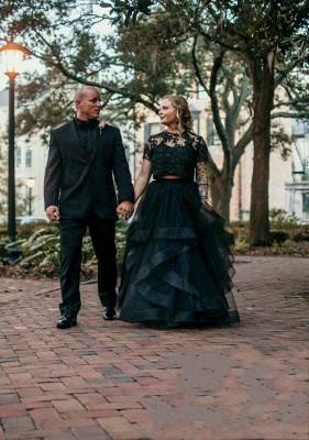 2 Part Wedding Dresses With Sleeves | Lace wedding dress black_2