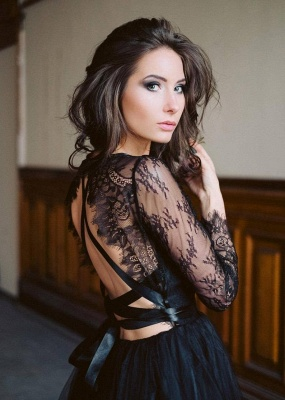 Simple black wedding dress with sleeves | Wedding dresses with lace_6