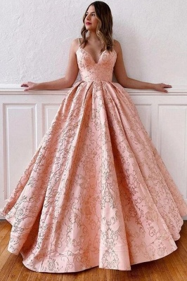 Luxury evening dress long pink | V Neck Prom Dresses Online_1