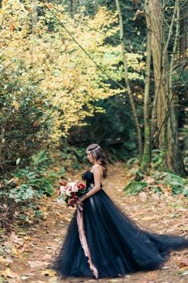 Black wedding dress A line | Tulle wedding dress cheap online_4