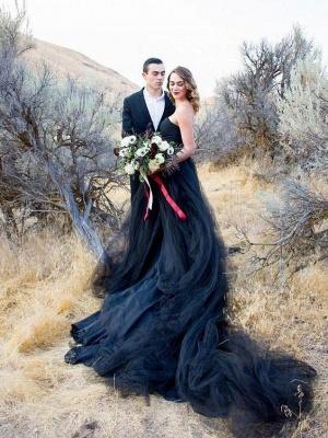 Schwarze Brautkleid Schlicht | Tüll Hochzeitskleid Online_2