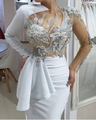 Evening dresses long white | Prom dresses with sleeves online_4