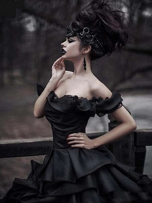 Black wedding dresses princess | Vintage wedding dress with lace_5