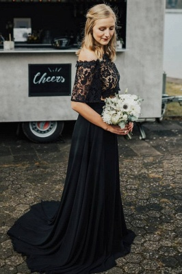 2 piece wedding dress black | Wedding dress with lace sleeves_1