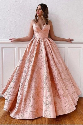 Luxury evening dress long pink | V Neck Prom Dresses Online_2