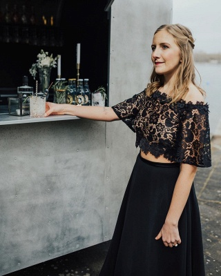 2 piece wedding dress black | Wedding dress with lace sleeves_4