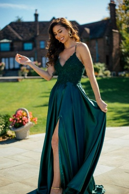 Simple evening dresses green | Prom dresses long cheap_2