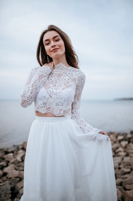 Designer wedding dresses with sleeves | Chiffon bridal wear with lace_3