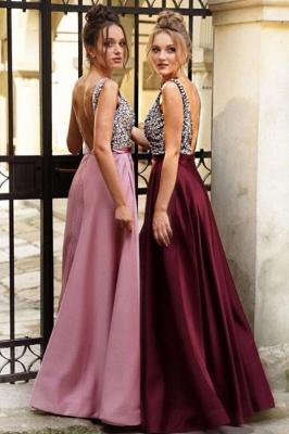 Designer Abendkleider Weinrot | Abendmoden Abiballkleid V Ausschnitt_2