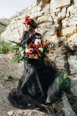 Simple black wedding dress with sleeves | Wedding dresses with lace_7