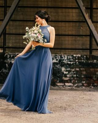 Schöne Brautjungfernkleider Lang Chiffon | Blaue Kleider Brautjungfern_2
