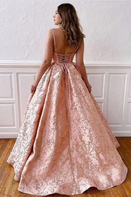 Luxury evening dress long pink | V Neck Prom Dresses Online_3