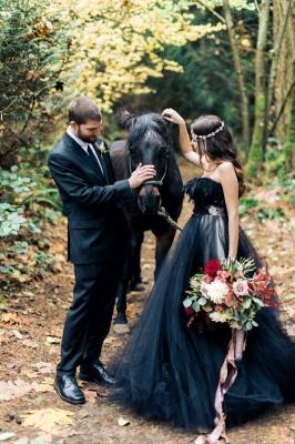 Black wedding dress A line | Tulle wedding dress cheap online_5