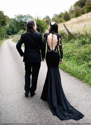 Black wedding dresses with sleeves | Mermaid wedding dresses with lace_4