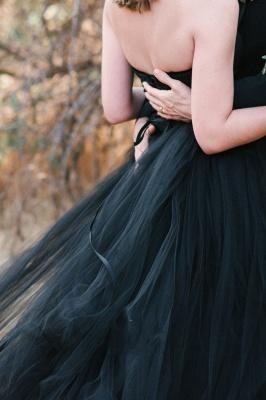 Schwarze Brautkleid Schlicht | Tüll Hochzeitskleid Online_3