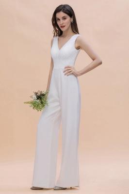 Schlichtes Abendkleid Jumpsuit | Weiße Brautjungfernkleider Lang Günstig_8
