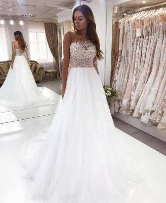 Luxury wedding dresses A line | Wedding dress with sleeves_2