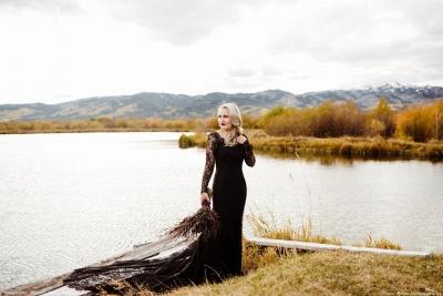 Schwarze Brautkleider Mit Ärmel | Meerjungfrau Hochzeitskleid Spitze_5