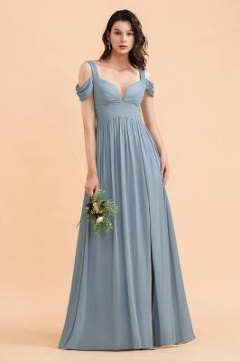 Brautjungfernkleider Stahlblau Lang Günstig | Schlichtes Abendkleid Chiffon_9