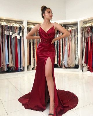 Simple evening dress wine red | Evening Wear Prom Dresses Online_2