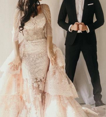 Wunderschöne Brautkleid Blush | A Linie Hochzeitskleid mit Spitze_3