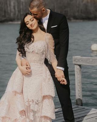 Wunderschöne Brautkleid Blush | A Linie Hochzeitskleid mit Spitze_6