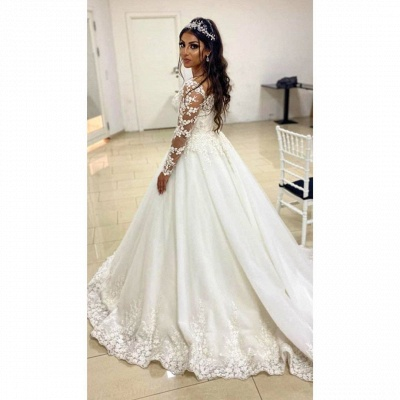 Elegant wedding dresses A line | Wedding dresses with lace sleeves_3