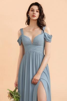 Brautjungfernkleider Stahlblau Lang Günstig | Schlichtes Abendkleid Chiffon_8