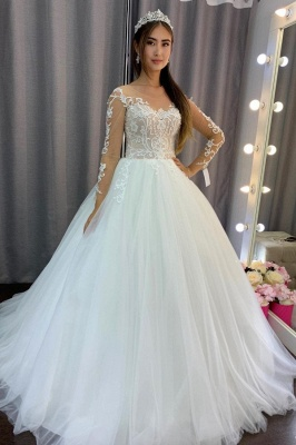 Elegant wedding dresses with sleeves | Wedding dresses princess lace_1