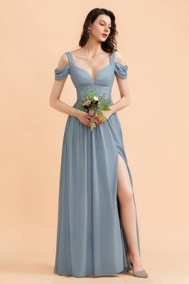 Brautjungfernkleider Stahlblau Lang Günstig | Schlichtes Abendkleid Chiffon_4
