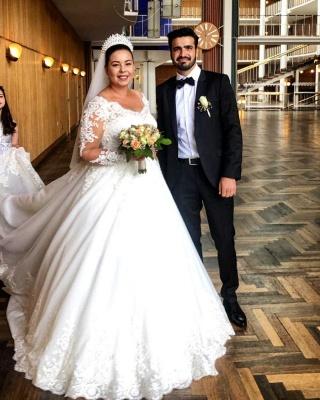 Schöne Brautkleider A Linie Mit Spitze | Prinzessinen Brautkleider mit Ärmel_2