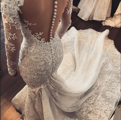 Wedding dress with sleeves | Beautiful wedding dresses mermaid lace_2