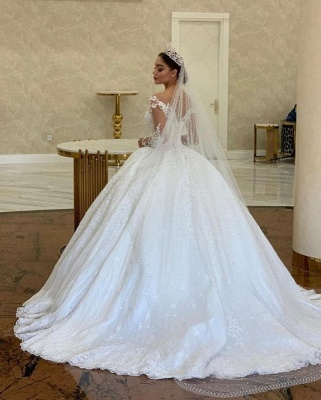 Extravagant wedding dresses princess | Wedding dress with long sleeve lace_2